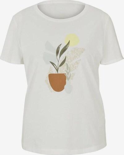 TOM TAILOR T-Shirt in braun / grün / weiß, Produktansicht