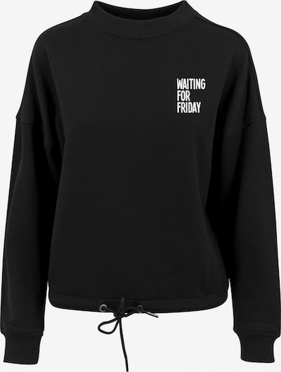 Merchcode Sweatshirt 'Waiting For Friday' in schwarz / weiß, Produktansicht