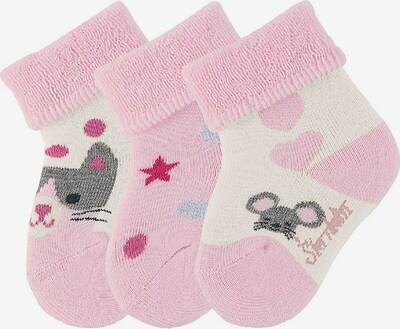 STERNTALER Baby-Söckchen mit Umschlag Winter Baby-Söckchen 3er-Pack Katze Erstlingssöckchen in hellpink, Produktansicht