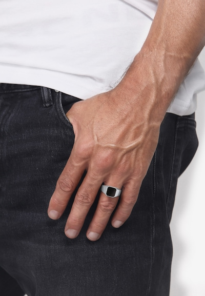 KUZZOI Ring Siegelring in schwarz / silber: Frontalansicht