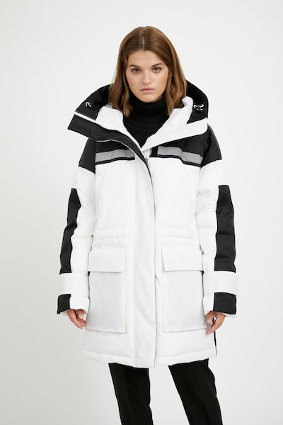 Finn Flare Wintermantel in schwarz / weiß, Modelansicht