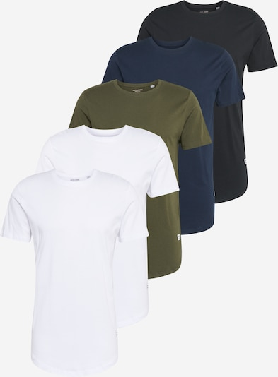 JACK & JONES T-Shirt 'ENOA' en bleu marine / noir / blanc, Vue avec produit