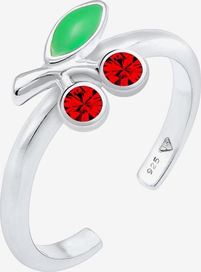 ELLI Ring Kirsche in grün / kirschrot / silber, Produktansicht