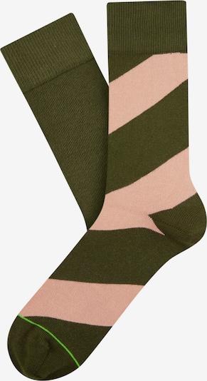 Cheerio Socken in oliv / altrosa, Produktansicht