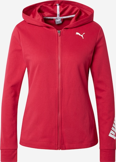 PUMA Athletic Zip-Up Hoodie in Dark red / White, Item view