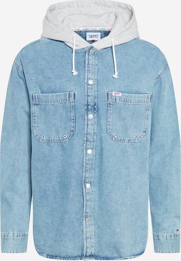 Tommy Jeans Veste mi-saison en bleu marine / bleu denim / gris chiné / rouge / blanc, Vue avec produit