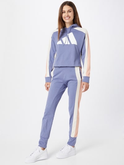 ADIDAS PERFORMANCE Облекло за трениране в опушено синьо / бледорозово / бяло: Изглед отпред