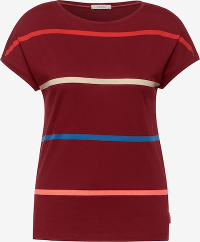 CECIL T-shirt i beige / blå / korall / rosa / burgunder, Produktvy