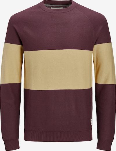 JACK & JONES Pullover 'SHAWN' in beige / dunkelrot, Produktansicht