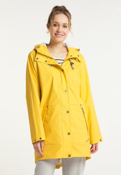 Schmuddelwedda Regenmantel in limone, Modelansicht