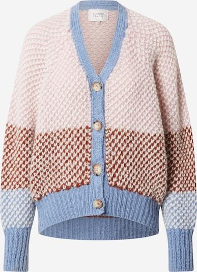 SECOND FEMALE Плетена жилетка 'Berthe' в светлосиньо / кафяво / бледорозово, Преглед на продукта