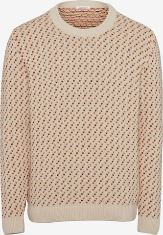 KnowledgeCotton Apparel Pullover ' Valley Jacquard o-neck knit ' in Beige
