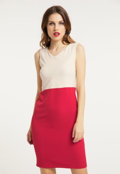 faina Kleid in beige / rot, Modelansicht