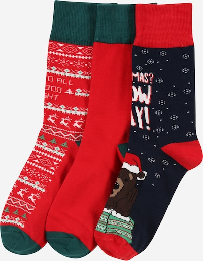 Urban Classics Socks in Navy / Chestnut brown / Dark green / Red / White, Item view