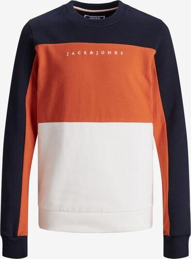 Jack & Jones Junior Sweatshirt in ultramarinblau / dunkelorange / weiß, Produktansicht