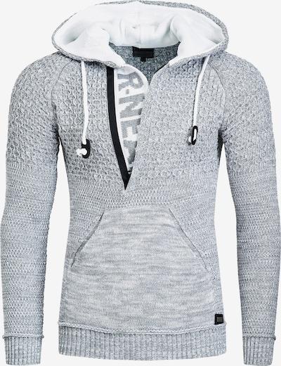 Rusty Neal Cooler Grobstrick-Pullover mit Kapuze in grau, Produktansicht