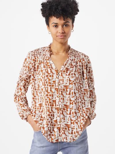 SCOTCH & SODA Bluse 'Sheer' in rostbraun / weiß, Modelansicht