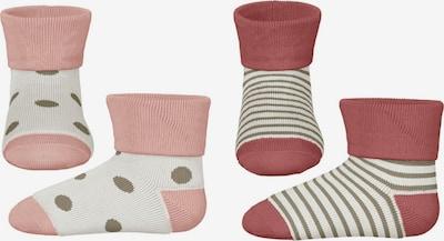 NAME IT Chaussettes 'Bea' en taupe / rose / framboise / blanc naturel, Vue avec produit