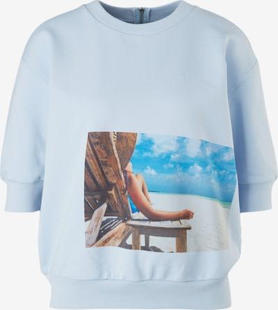 comma casual identity Sweatshirt in himmelblau / hellblau / braun / mischfarben, Produktansicht