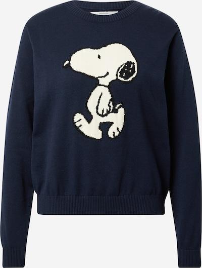 DEDICATED. Pull-over 'Arendal Snoopy' en bleu marine / noir / blanc, Vue avec produit
