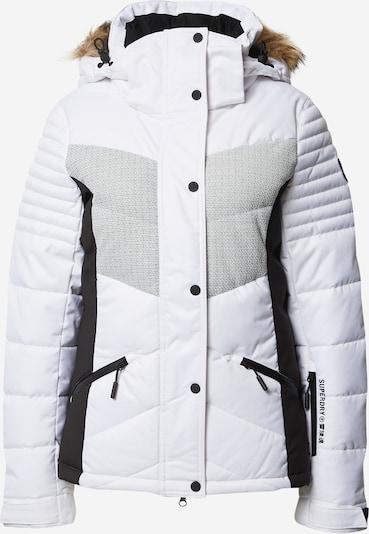 Superdry Snow Outdoorjas in de kleur Lichtgrijs / Zwart / Wit, Productweergave