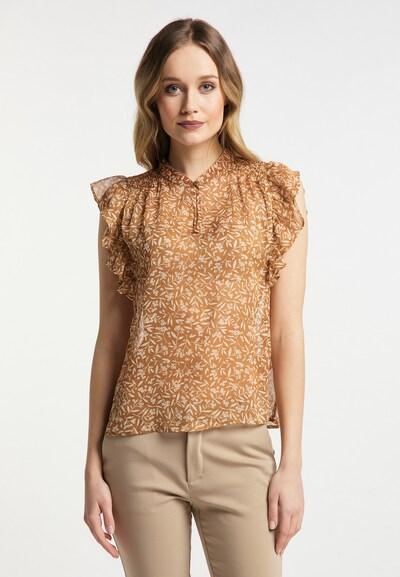 DreiMaster Klassik Blouse in de kleur Camel / Goud / Wit, Modelweergave