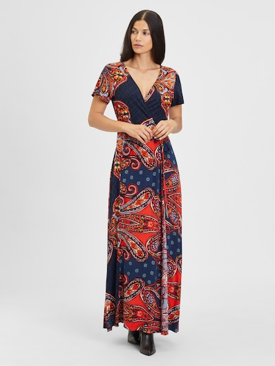 LASCANA Kleid 'LS paisley wrap maxi dre' in de kleur Navy / Sinaasappel, Modelweergave