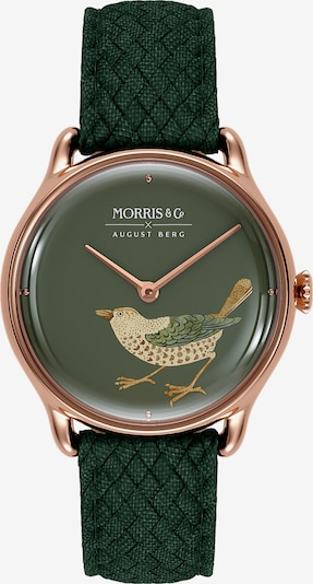 August Berg Analoog horloge 'MORRIS & CO Rose Gold Bird Green Perlon 30mm' in de kleur Rose-goud / Groen, Productweergave
