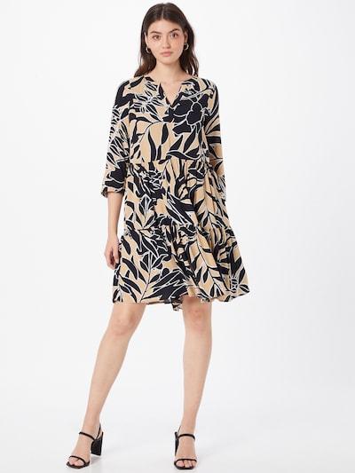 COMMA Kleid in hellbraun / schwarz / weiß, Modelansicht
