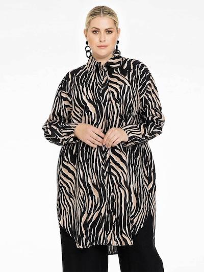 Yoek Blouse 'Tiger' in Brown, View model