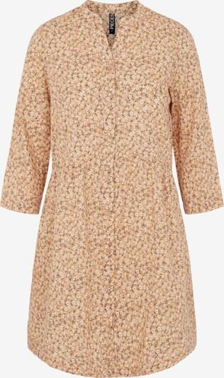 PIECES Robe-chemise 'Lindsey' en olive / mandarine / blanc, Vue avec produit