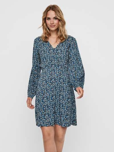 VERO MODA Kleid 'MILDA' in royalblau / hellblau / schwarz / weiß, Modelansicht
