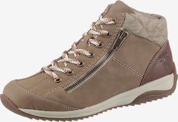 RIEKER Lace-Up Ankle Boots in Beige