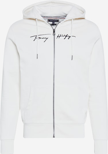 TOMMY HILFIGER Sweatvest 'TOMMY HILFIGER X ABOUT YOU SIGNATURE' in de kleur Ivoor / Nachtblauw, Productweergave