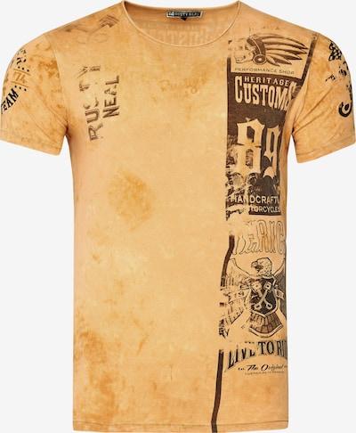 Rusty Neal T-Shirt mit modernem Front & Back Print in braun: Frontalansicht