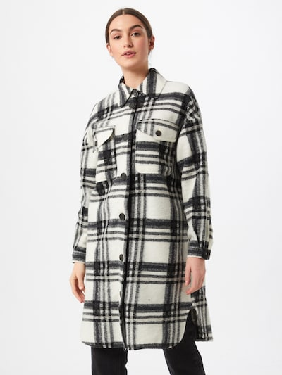 VERO MODA Abrigo de entretiempo en negro / blanco, Vista del modelo