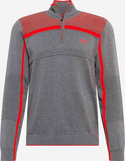 BOSS ATHLEISURE Pullover 'Zemi' in grau / hellrot, Produktansicht