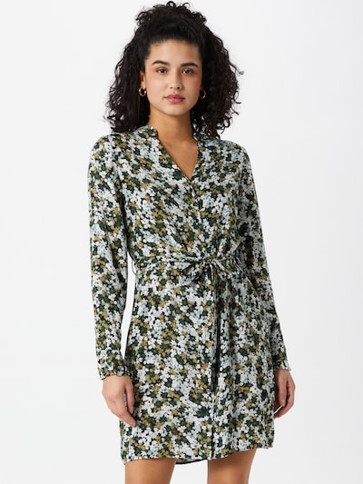 PIECES Sukienka koszulowa 'FRIDINEN' w kolorze oliwkowy / jasnozielony / ciemnozielony / białym: Widok z przodu