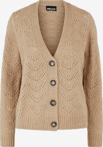 PIECES Knit Cardigan 'Bibi' in Brown