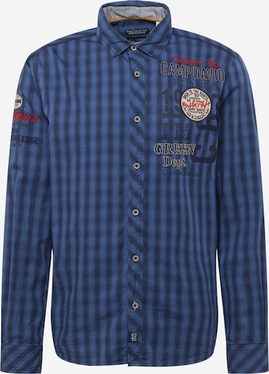 CAMP DAVID Button Up Shirt in marine blue / Smoke blue / Red, Item view