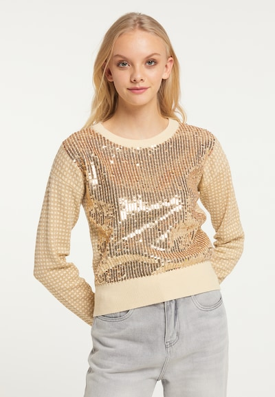 myMo at night Pullover in beige / gold: Frontalansicht