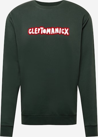 Cleptomanicx Sweatshirt 'Clepto Oldschool' in Grün