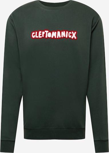 Cleptomanicx Sweatshirt 'Clepto Oldschool' in smaragd / feuerrot / weiß, Produktansicht
