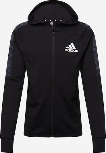 ADIDAS PERFORMANCE Athletic Zip-Up Hoodie in Silver grey / Black / White, Item view
