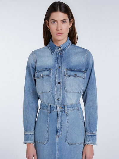 SET Blouse in blue denim, View model