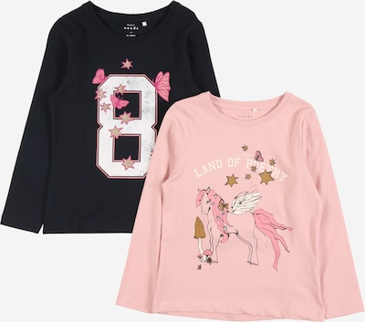 NAME IT Shirt 'Vix' in nachtblau / mischfarben / pink / rosa / weiß, Produktansicht