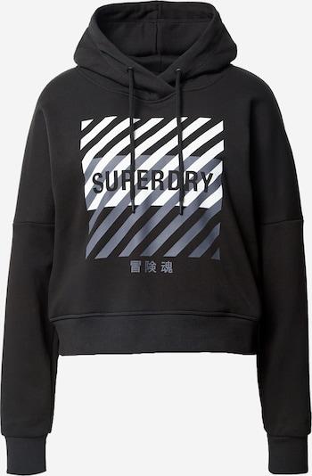 Superdry Sportief sweatshirt in de kleur Grijs / Zwart / Wit, Productweergave