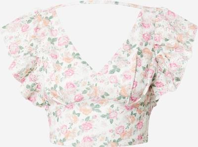 GUESS Majica 'HATICE' u zelena / breskva / roza / bijela, Pregled proizvoda
