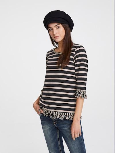 heine Sweatshirt in de kleur Ecru / Zwart: Vooraanzicht