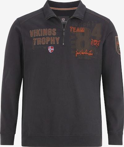Jan Vanderstorm Sweatshirt 'Thoralf' in hellbraun / dunkelbraun / blutrot, Produktansicht